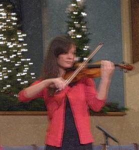 2015-11-29 Priscilla Playing the Violin at Carols Concert!