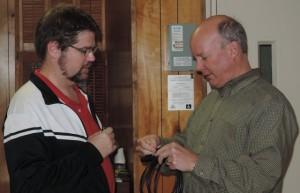 2015-12-14 Michael Post and Greg @ Lucas Ave. Baptist Church Luncheon