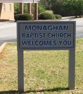 2016-4-5 Monaghan Baptist Welcome Sign
